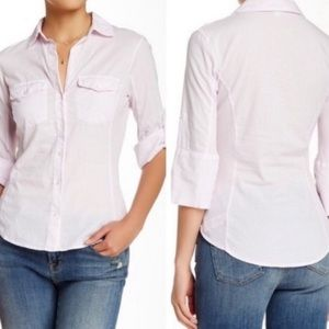James Perse Button Down Shirt Contrast Panel Pink